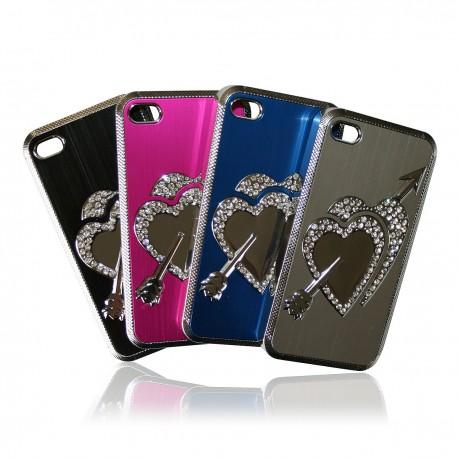 iPhone 4 / 4S Skal Bling Hjärta + Skärmskydd