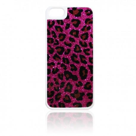 iPhone 5 Skal Glitter Leopard: Rosa