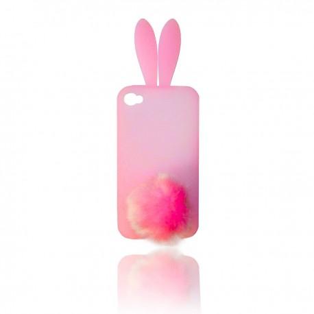 iPhone 5 Silikon Skal Kanin: Rosa (transparent)